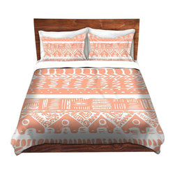 DiaNoche Designs - Duvet Cover Twill by Organic Saturation - Boho Coral Aztec - Lightweight and soft brushed twill Duvet Cover sizes Twin, Queen, King.  SHAMS NOT INCLUDED.  This duvet is designed to wash upon arrival for maximum softness.   Each duvet starts by looming the fabric and cutting to the size ordered.  The Image is printed and your Duvet Cover is meticulously sewn together with ties in each corner and a concealed zip closure.  All in the USA!!  Poly top with a Cotton Poly underside.  Dye Sublimation printing permanently adheres the ink to the material for long life and durability. Printed top, cream colored bottom, Machine Washable, Product may vary slightly from image.