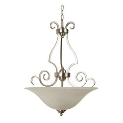 Craftmade - Craftmade Builder Series Transitional Inverted Pendant Light X-3NB8117 - With a dome shade and ornamental arms, this transitional inverted pendant light becomes the focal point of living spaces. Delicate curls and bends give this fixture a whimsical nature that is only balanced by its unadorned shade. Includes 6' of chain and 7' of cord.
