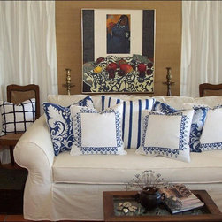 Custom & Ready Made Pillows ~ Pillows in Blue and White - Blue and White Hand Stencil Printed, Hand Painted and Hand Cut Chenille Decorative Pillows by Carol Tate - Artisanaworks. One-of a Kinds, or as Noted.  Couture Custom Made Pillow Services Available. Artisanaworks