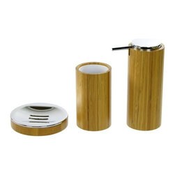Gedy - 3 Piece Bamboo Bathroom Accessory Set - This bathroom accessory set is made of bamboo with a protective finishing.