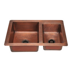 "MR Direct - MR Direct 901 Double Offset Bowl Copper Sink - The 901 offset double bowl undermount sink is made from 99% pure-mined copper. It is comprised using one piece construction, giving you a very strong and durable copper sink. Since copper is stain resistant, it is great for busy households that benefit from low-maintenance materials. The hammered finish looks great and provides a mask for small scratches that may appear over time. The overall dimensions of the 901 are 33"" x 22"" x 9""(L) 7"" (R) and a 33"" minimum cabinet size is required. The sink contains a centered 3 1/2"" drain opening and copper strainers and flanges are available. The hand-crafted copper details are sure to add warmth and richness to any decor. Strainers not included."