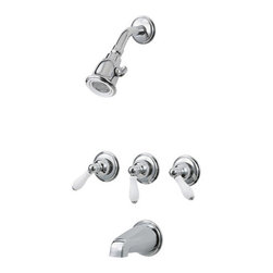 PRICE PFISTER - 3 Handle Tub and Shower Trim Porcelain Lever Polished Chrome With White - Bell showerhead