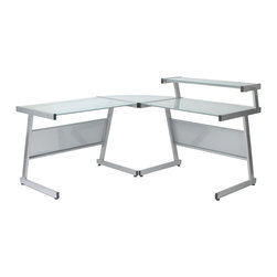 Euro Style - Euro Style L Desk Frame // Aluminum/Frosted Glass - This is a very space efficient workstation. Epoxy coated steel in either a graphite/smoked look or in bright aluminum and frosted glass the L desk has room for all the necessities and all the niceties that make it comfortable, functional and space saving.