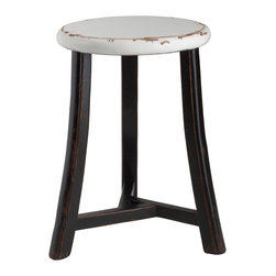Antique Revival - White Gable Three Legged Stool - This three-legged, round-topped stool is great for both reaching high shelves and providing extra seating for guests. The unique design includes black legs and a round, white top with lightly distressed edges.