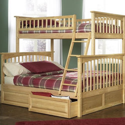 Atlantic Furniture - Columbia Twin Over Full Bunk Bed in Natural M - Comes with a slat kit for mattress support. Includes two 14 pieces engineered hardwood slat kits. Optional underbed raised panel drawers not included. Made of premium, eco-friendly hardwood with a 5-step finishing process. Solid hardwood Mortise & Tenon construction. 26-Steel reinforcement points. Designed for durability. Guard rails match panel design. Meet or exceed all ASTM bunk bed standards, which require the upper bunk to support 400 lbs.. Clearance from floor without trundle or storage drawers: 11.25 in.. 80.5 in. L x 58.38 in. W x 68.13 in. H. Optional flat panel drawers: 74 in. L x 22 in. W x 12 in. H. Optional raised panel drawers: 74 in. L x 24.38 in. W x 12 in. H. Optional raised panel trundle: 74.75 in. L x 40.38 in. W x 11.63 in. H. Bunk Bed Warning. Please read before purchaseThe Columbia bunk bed features a classic Mission style design with subtle curves and solid post construction.