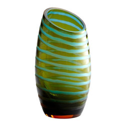 Cyan Design - Cyan Design 00104 Large Angle Cut Etched Vase - Large Angle Cut Chiseled Vase