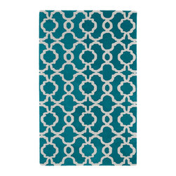 Kaleen - Kaleen Revolution Collection REV03-91 3' x 5' Teal - The color Revolution is here! Trendy patterns with a fashion forward twist of the hottest color combinations in a rug collection today. Transform a room with the complete color makeover you were hoping for and leaving your friends jealous at the same time! Each rug is hand-tufted and hand-carved for added texture in India, with a 100% soft luxurious wool.