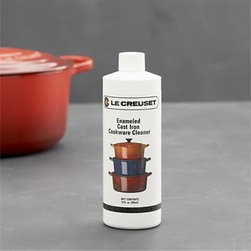 Le Creuset® Enameled Cast Iron Cookware Cleaner - The experts at Le Creuset created this specialty cleaner for enameled cast iron cookware. removes cooked-on food effortlessly. Simply wipe onto a dry pan and rub gently to remove staining and food residue.