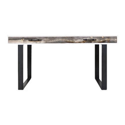 Cody Desk with Black Metal Legs - Our stylish new Cody desk is an industrial modernist's dream. A matte white box with beautiful Recycled Grey Washed Wood drawers and matte black metal bar pulls creates the perfect mix of style and rugged functionality.