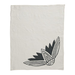 Cricket Radio - Alexandria Lotus Hand Towel, Oyster/Charcoal - If you're looking to add a little soft color to your kitchen or guest bath, let this towel give you a hand. It's handmade of Italian linen in several colors and features a lotus flower printed with ecofriendly inks. At 21 by 26 inches, the linen will become even softer and more absorbent over time.