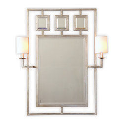 Kathy Kuo Home - Park Avenue Hollywood Regency Silver Leaf Mirror With Sconces - Make a stunning first impression with this mirror and sconce combo. Hung in an entryway, above a console or in the bath, it allows you to get your glam on.