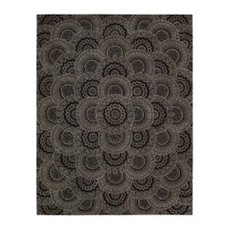Nourison - Nourison 2000 2335 2' x 3' Black Grey Area Rug 15762 - As light as lace, airy flowers form perfect circles that shimmer in silvery beauty on a field of mysterious black. The overlapping pattern grows from the borders to reach a crescendo in the center medallion. Lush, dramatic and filled with secret life - an exciting centerpiece for the room.