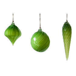Working Man Hand Made - Bright Green Holiday Ornament, Set - All of our holiday ornaments are made using traditional Italian glass blowing techniques accentuated by bright and festive colors. Our line of transparent ornaments will brighten your holiday season!
