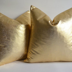 Linen Pillow Cover, Gold by Sukan - I love the texture of this linen mixed with the metallic gold.