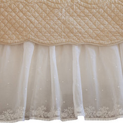 Daisy Dot Cream Twin Bed Skirt