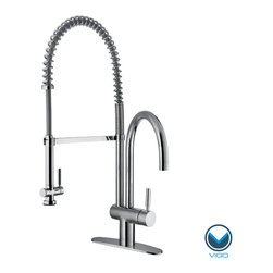 Vigo - VIGO Chrome Pull-Down Spray Kitchen Faucet with Deck Plate - Add valuable functionality to your kitchen space with this stylish Vigo pull-down kitchen faucet with deck plate. This single-handle faucet features a pull-down sprayer for filling pots and other tasks and has a chrome finish for long-lasting beauty.