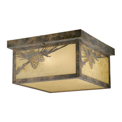 Vaxcel - Vaxcel OF50511OA Whitebark Outdoor Ceiling Light - Vaxcel Lighting OF50511OA 2 Light Whitebark Flush Outdoor Close to Ceiling Light This Vaxcel Lighting item is available in an olde world patina finish.