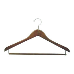 Proman - Gemini concave Suit Hanger with Lock Bar - Gemini-concave suit hanger with lock bar, light walnut, chrome, 50pcs/case. Concave suit hanger. W/ lock bar with chrome hardware.