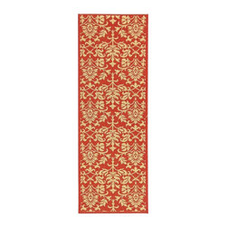 Safavieh - 2 x 6 Ft Damask Print Red & Natural Rug - Add a bold splash of color to any area of your home with this colorful runner rug, finished in red with a natural damask print. Perfect for an entry or screen porch, the rug is designed for either indoor or outdoor use, making it a versatile choice for your decor. Machine Made. Made of Polypropylene. 2 ft. 4 in. W x 6 ft. 7 in. L. Safavieh takes classic beauty outside of the home with the launch of their Courtyard Collection. Made in Belgium with enhanced polypropylene for extra durability, these rugs are suitable for anywhere inside or outside of the house. To achieve more intricate and elaborate details in the designs, Safavieh used a specially-developed sisal weave.