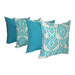 Land of Pillows - Fresco Atlantis and Luminary Turquoise Blue Outdoor Throw Pillow - 4 Pack, 20x20 - Fabric Designer - Mill Creek