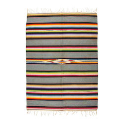 Vintage Gray Serape - Traditionally worn as a blanket-like shawl, the serape is a multifunctional textile. It can work as a rug, as a throw on cold nights, as a bleach blanket in the summer, or a seat cover in your 1940 Ford.