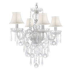 ALL Crystal Chandelier Lighting Chandeliers with 40mm Crystal Balls & Crystal - This beautiful Chandelier is trimmed with Empress Crystal(TM).Item must be hardwired. Professional installation is recommended. Requires (4) 40 watt bulbs - not included