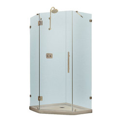 """BathAuthority LLC dba Dreamline - PrismLux Frameless Hinged Shower Enclosure, 40 3/8"""" D x 40 3/8"""" W x 72"""" H - The PrismLux shower enclosure incorporates a unique corner installation design to save space while creating a beautiful focal point. The modern enclosure combines the rich look of impressive 3/8 in. thick tempered glass and the clean lines of a completely frameless design for an upscale custom look. Add a DreamLine shower base and shower backwalls and for an efficient and cost effective way to dramatically transform any shower space."""