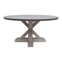 Zinc Round Table With Wooden Base - The smooth zinc top paired with the rustic wood base makes a perfect breakfast table. I love this combination.