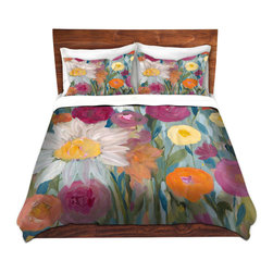 DiaNoche Designs - Duvet Cover Microfiber King-DiaNoche Designs-Carrie Schmitt-Earth at Daybreak - DiaNoche Designs works with artists from around the world to bring unique, artistic products to decorate all aspects of your home.  Super lightweight and extremely soft Premium Microfiber Duvet Cover (only) in sizes Twin, Queen, King.  Shams NOT included.  This duvet is designed to wash upon arrival for maximum softness.   Each duvet starts by looming the fabric and cutting to the size ordered.  The Image is printed and your Duvet Cover is meticulously sewn together with ties in each corner and a hidden zip closure.  All in the USA!!  Poly microfiber top and underside.  Dye Sublimation printing permanently adheres the ink to the material for long life and durability.  Machine Washable cold with light detergent and dry on low.  Product may vary slightly from image.  Shams not included.