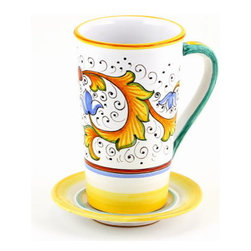 Artistica - Hand Made in Italy - PERUGINO: Tall Mug 16 oz. with Saucer - PERUGINO Collection: The Perugino pattern is an Artistica's exclusive. It was inspired by the Deruta's classic Raffaellesco a design that traces his origins from the XVI Century graceful arabesques of painter Raphael famous frescoes.