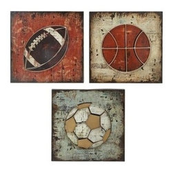 """BZBZ69213 - Wall Sculpture Metal Wall Decor 3 Assorted 17""""H, 17""""W - Wall Sculpture Metal Wall Decor 3 Assorted 17""""H x 17""""W . Some assembly may be required. Made with metal pieces. Size: 17"""" x 1"""" x 17"""""""