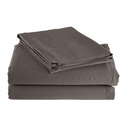 300 Thread Count California King Sheet Set Bamboo Solid - Grey - As soft as silk and as durable as cotton, these bamboo derived sheets are at the meeting point of style, comfort and durability. Made from 100% Bamboo derived Rayon, this set of sheets allows your body to breathe in the summer while keeping you warm in the winter. Set includes One Flat Sheet 111x105, One Fitted Sheet 74x86, and Two Pillowcases 21x42 each.