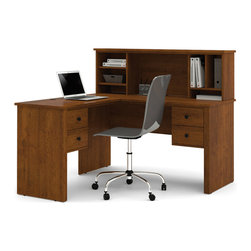 """Bestar - Somerville L-Shaped Desk with Hutch in Tuscany Brown - Somerville is a compact collection styled for home and smaller spaces. Durable 3/4 in. commercial grade work surfaces with melamine finish that resists scratches, stains and burns. 3/4 in. decorative rail under top and pedestals. Classic metal handles. 12 in. width pedestals (two utility drawers and a file drawer). Hutch with left and right open storage which both include an adjustable shelf that can be placed either horizontally or vertically. The file drawer is mounted on ball-bearing slides for smooth and silent operation. The desk features efficient wire management to keep your work surface organized. Also available in Tuscany Brown.; Color: Tuscany Brown; Dimensions: 53.5""""L x 57.5""""W x 46.9""""H"""