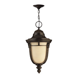 Hinkley Lighting - Key West Hanging Outdoor Lantern - Hand-Aged Vanilla glass shades fill in the decorative Regency Bronze frame with absolute clarity and beauty. Comes in Regency Bronze finish. Takes 1 100 Watt Medium Bulb.