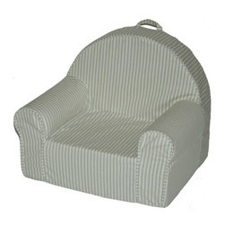 Fun Furnishings - Fun Furnishings Stripe My First Chair in Green - Perfect size seating for toddlers, this cute comfortable chair even comes with a handle just right for little hands. Safe and sturdy, slip covered for easy care this chair pleases parents while little girls and boys delight in having furniture that is theirs alone. Built-in durability. We've worked hard to make our furniture durable and help it retain its appearance. We use high-density foam to make the furniture hold up to the tough use it receives from kids. We include a layer of fiber on the seating surfaces to keep the fabric tight much longer.