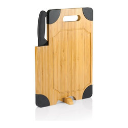 Picnic time - Culina Bamboo Board w/ Black Silicone accents and Knife - Cutting board with silicone corners, swivel stand, recessed juice groove, and large powder-coated carving knife.