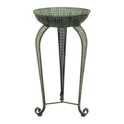 Oriental Furniture - Perforated Circulare Iron Display Stand - This distinctive iron stand is the perfect place to display a small statue or vase filled with flowers. Cast from graceful curling iron and finished with a weathered copper green patina, its vintage design will add charm to any home or garden.