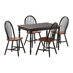 Boraam - Boraam Tile Top 5 Piece Dining Set in Black and Cherry - Boraam - Dinette Sets - 80530 - Boraam's high quality products are well styled and priced right. Benefitting from years of experience in the industry Boraam knows what you look for in quality furniture and takes pride in getting orders out as diligently as possible. Feel confident that Boraam will take your living space to another level.Set Includes: