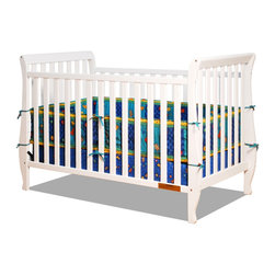 AFG Baby - AFG Baby Naomi Convertible Crib with Toddler Rail in White - Accented by graceful curves on the legs, the Naomi 4-in-1 Convertible Crib brings unique style combining different elements for safety and ease of use. Made of pine solid hardwood with a non toxic finish, the Naomi crib has stationary sides for added safety in addition to wide, thick slats for extra sturdiness. Features 3-level adjustable mattress height support, and conversion to a toddler bed or day bed with the included guardrail, or full-size bed (conversion rails sold separately).