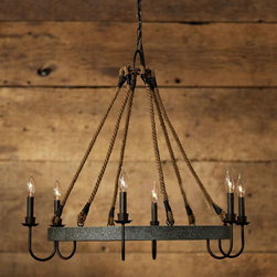 Country Antique Rusted and Hemp Cope Chandelier -