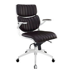 Escape Midback Office Chair - The high backed modern style of Jaunt creates a focused synergy that turns all eyes on you. Every task that comes your way, will be handled with confidence, from the leatherette cushioned comfort of office luxury. Padded armrests, and the sleek sheen of the five dual-caster base, complete Jaunt's stunning design.