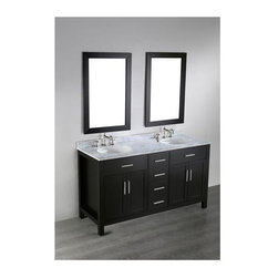 Bosconi - 60 in. Double Vanity in Black Finish - Faucet and drain not included. Four soft closing drawers. Four soft closing doors. Silver finished hardware. Two under mount white ceramic sinks. Three 8 in. standard faucet holes. Overflow drain. 0.5 in. thick Carrera marble countertop. CARB PH2 Certified MDF sides and paneling. Made from birch solid wood frame. Matching backsplash: 0.5 in. D x 2.75 in. H. Mirror: 23 in. W x 35 in. H (25 lbs.). Sink: 18 in. W x 15 in. D x 7.7 in. H. Vanity: 60 in. W x 22 in. D x 33 in. H (225 lbs.)The Bosconi Contemporary Double Vanity is a combination of distinct styling and sophistication producing a trendy yet functional design for the bathroom environment. The dual vertically mounted vanity mirrors will blend in with the bathroom decor in an excellent display.