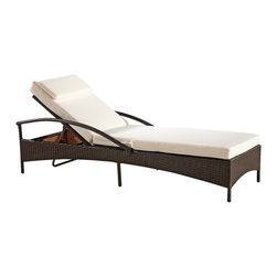Lemoderno - Fine Mod Imports  Sun Outdoor Chaise Lounge - Two position wicker outdoor lounge chair, Looks beautiful on your deck, the perfect place to relax and enjoy. Thick padded cushion included. Water Resistant Cushions Furniture has a rust-free, powder-coated aluminum frame UV Resistant Wicker  Assembled