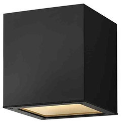 Hinkley - Hinkley Kube One Light Satin Black Outdoor Flush Mount - 1763SK - This One Light Outdoor Flush Mount is part of the Kube Collection and has a Satin Black Finish. It is Outdoor Capable, and Damp Rated.