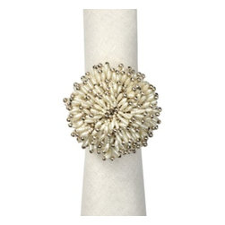 Z Gallerie - Pearl Starburst Napkin Ring - Set of 4 - Put the finishing touches on your elegant dining table by adding our stunning Pearl Starburst Napkin Ring to put panache in the party. Available exclusively at Z Gallerie, a burst of pretty pearls and sparkly glass beads form a large dome which is mounted on a metal ring, to add a fabulous flourish to your table decor.