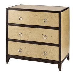 Currey & Co - Currey & Co 3024 Malthus Aged Parchment 3-Drawer Dresser - With four short legs in a sloped design and three large drawers, the Currey & Co 3024 Malthus Aged Parchment 3-Drawer Dresser is an excellent option for additional storage space or for storing clothing. The circular pulls in replacement of standard knobs help make it easy for you to open and close the drawers, making the aged parchment designed dresser a functional piece of furniture for your home.