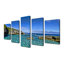 Ready2HangArt - Ready2hangart Chris Doherty 'Grunge Pano II' 5-piece Canvas Wall Art - The 'Grunge Pano II' 5-piece canvas art set depicts a perfectly clear blue sky over a crystal clear sea. This 5-piece canvas art set features a tropical theme and is gallery-wrapped canvas for a contemporary look.