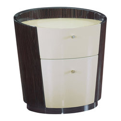 Global Furniture - Global Furniture USA New York 2-Drawer Nightstand in Wedge and Beige - The New York bedroom collection is a beautiful display of contrasting wood grains and elegant curves. The bedroom is not only stylish but it is also provides optimal storage.