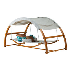 Great Deal Furniture - Rosalie Outdoor Patio Chaise Lounge Swing Bed and Canopy - The Rosalie Outdoor Patio Swing Bed and Canopy is perfect for lounging and enjoying your outdoor living space. Lose yourself in this bed with the protection of the attached canopy to create your own oasis.