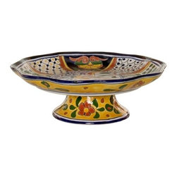 Mexican Talavera - Mexican Talavera Footed Fruit Bowl, Design C - Mexican Talavera Footed Fruit Bowl - Design C